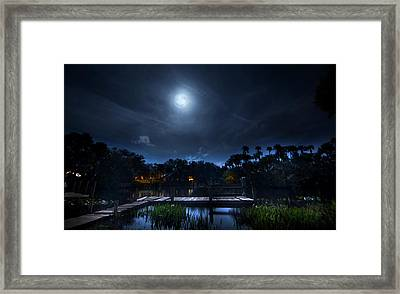 Moon Over The River Framed Print by Mark Andrew Thomas