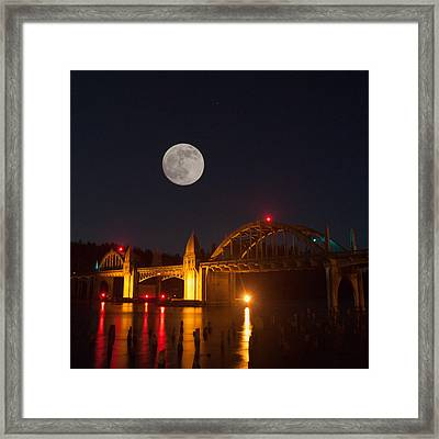 Moon Over The Siuslaw Framed Print