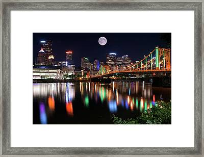 Moon Over The Steel City Framed Print