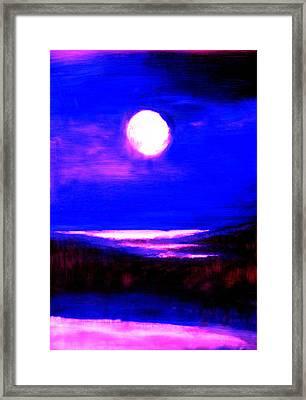 moon over the Stillwater river  Framed Print
