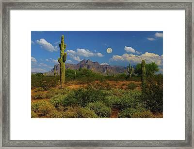 Moon Over The Superstition Mtn Framed Print