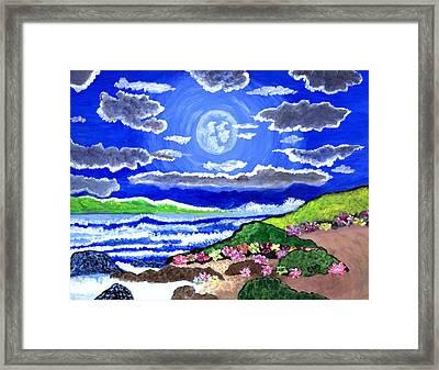 Moon Over The Tropics  Framed Print