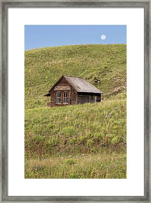 Moon Over Tiny House Framed Print