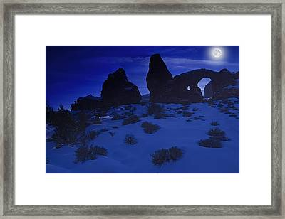 Moon Over Turret Arch Framed Print by Douglas Pulsipher