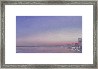 Moon Over Varanasi Framed Print by Derek Hare