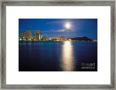 Moon Over Waikiki Framed Print by Mary Van de Ven - Printscapes