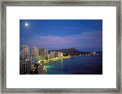Moon Over Waikiki Framed Print by William Waterfall - Printscapes