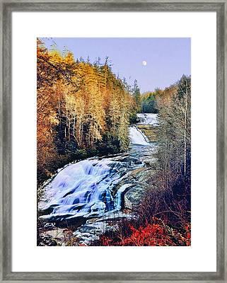 Moon Over Triple Falls Framed Print