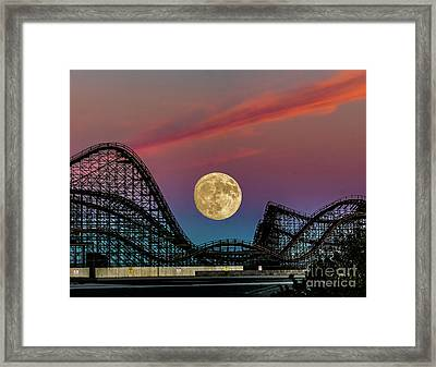 Moon Over Wildwood Nj Framed Print by Nick Zelinsky