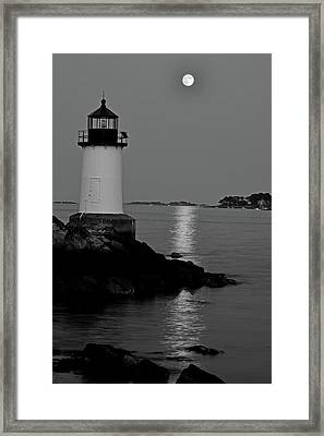 Moon Over Winter Island Salem Ma Black And White Framed Print by Toby McGuire