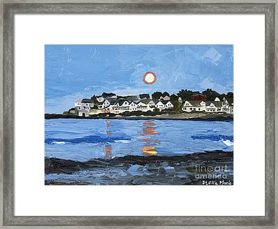 Moon Over York Beach Framed Print by Stella Sherman