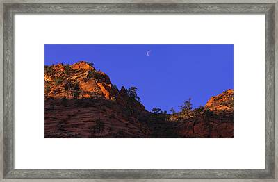 Moon Over Zion Framed Print by Chad Dutson