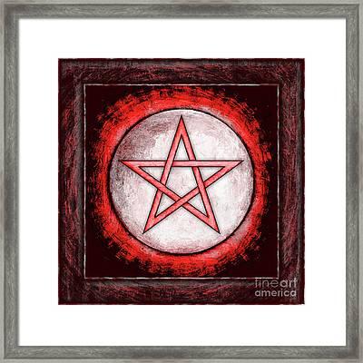 Moon Pentagram Red Framed Print