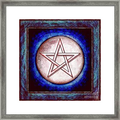 Moon Pentagram - Red Shining Framed Print
