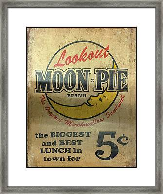Framed Print featuring the photograph Moon Pie Antique Sign by Chris Flees