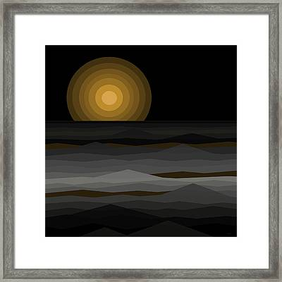 Moon Rise Abstract - Black And Gold Framed Print by Val Arie