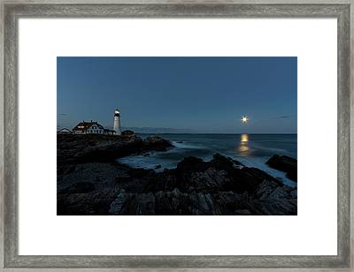Moon Rise At Portland Headlight Framed Print