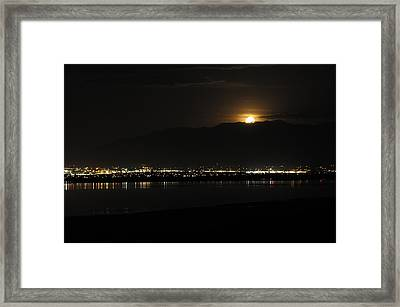 Framed Print featuring the photograph Moon Rise At Washatch by Norman Hall
