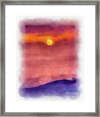 Moon Rise In Aquarelle Framed Print