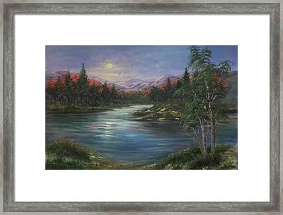 Moon Rise On The Lake Framed Print