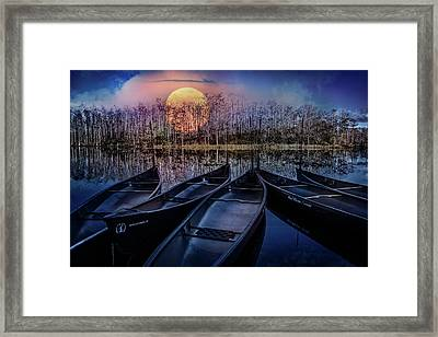 Framed Print featuring the photograph Moon Rise On The River by Debra and Dave Vanderlaan
