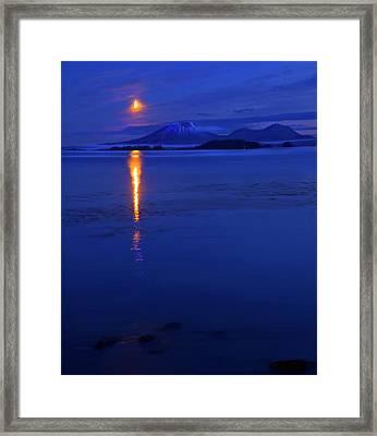 Moon Rise Over Mt. Edgecumbe Framed Print by Mike  Dawson