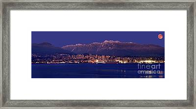 Moon Rise Over North Vancouver - British Columbia Framed Print by Terry Elniski