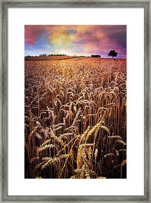 Moon Rise Over The Farm Framed Print