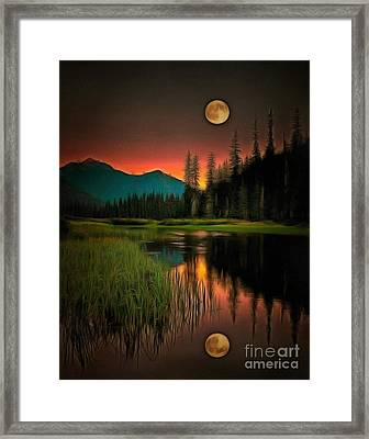 Moon Rises Or Sets In Ambiance Framed Print by Catherine Lott