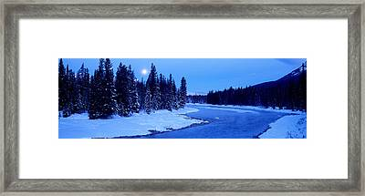 Moon Rising Above The Forest, Banff Framed Print by Panoramic Images