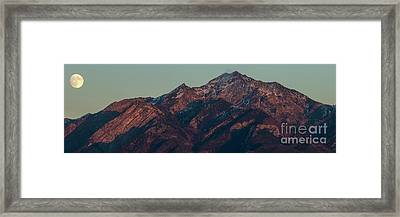 Framed Print featuring the photograph Moon Rising Near Twin Peaks by Spencer Baugh
