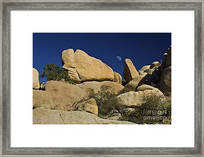 Moon Rising Over Indian Rock Framed Print