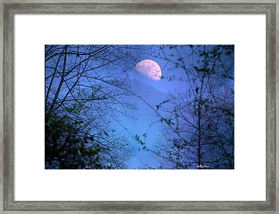 Moon Rising Over Mountain Framed Print by Molly Dean