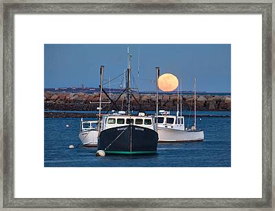 Moon Rising Over Rye Harbor Framed Print by Eric Gendron
