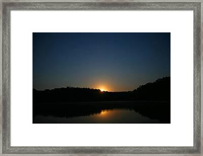Moon Rising Over The Lake Framed Print by James Jones