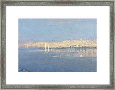 Moon Rising Over The Nile, 1900 Framed Print