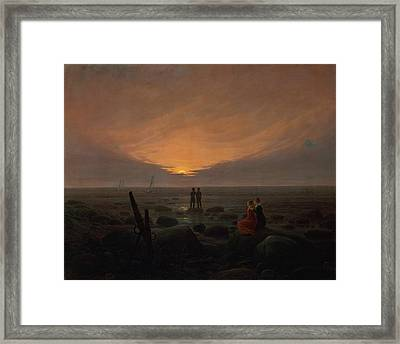 Moon Rising Over The Sea Framed Print by Caspar David Friedrich