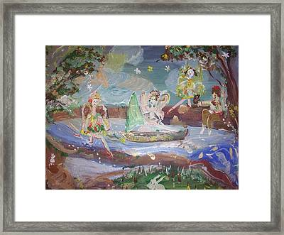 Framed Print featuring the painting Moon River Fairies by Judith Desrosiers