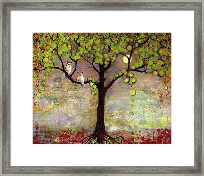 Moon River Tree Owls Art Framed Print