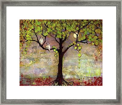Moon River Tree Owls Art Framed Print