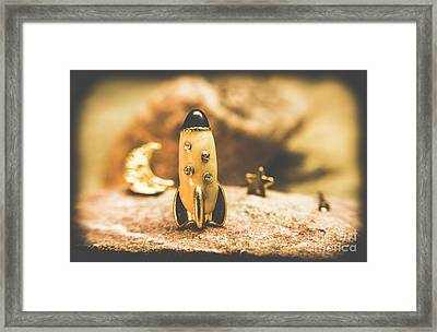Moon Rocket At Space Station On The Dark Side Framed Print