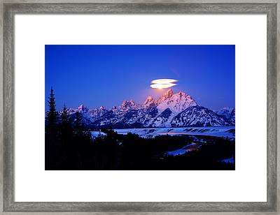 Moon Sets At The Snake River Overlook In The Tetons Framed Print by Raymond Salani III