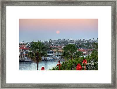 Full Moon Setting In Corona Del Mar Framed Print by Eddie Yerkish