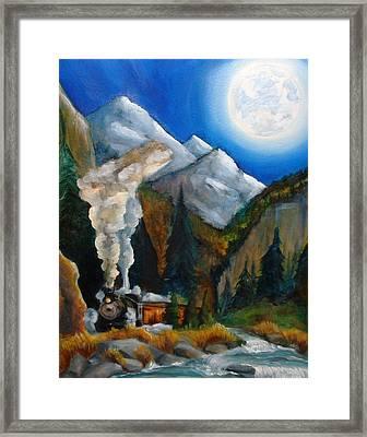 Moon Train  Framed Print by Andrea  Darlington