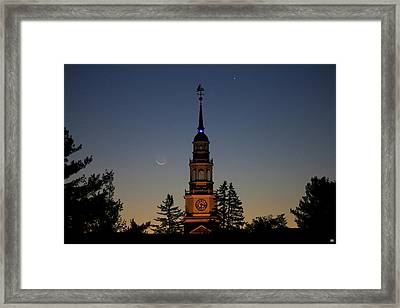 Moon, Venus, And Miller Tower Framed Print