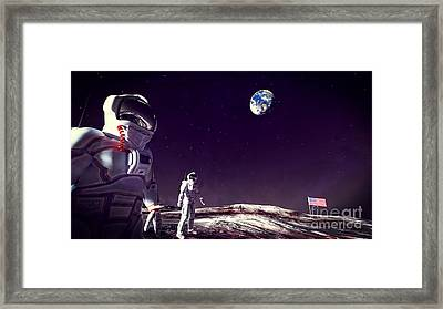 Framed Print featuring the digital art Moon Walk by Methune Hively