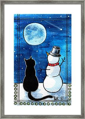 Moon Watching With Snowman - Christmas Cat Framed Print