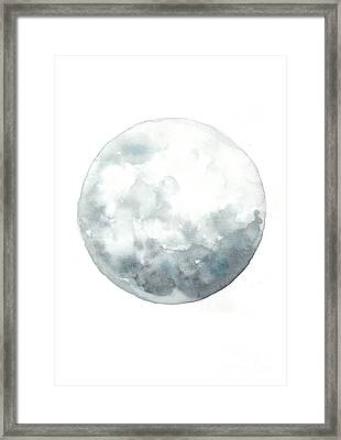 Moon Watercolor Art Print Painting Framed Print by Joanna Szmerdt