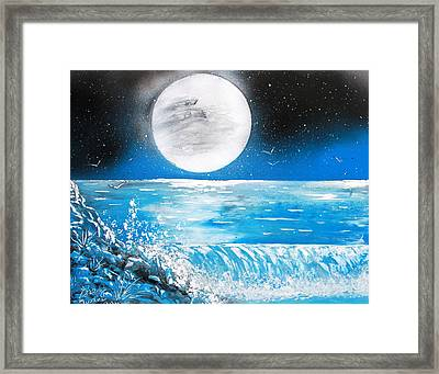 Moon Wave Framed Print