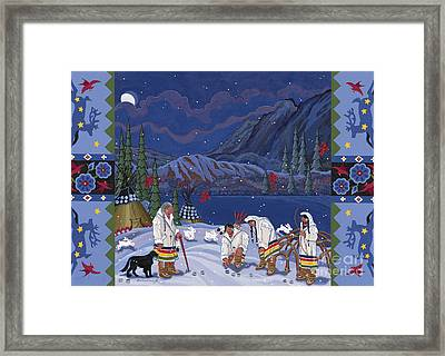 Framed Print featuring the painting Moon When The Rivers Dream by Chholing Taha